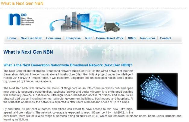 Plan Next Gen NBN de Singapur
